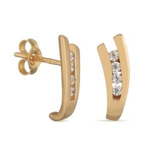 Pendientes de oro amarillo forma de V con circonita Oro Vivo