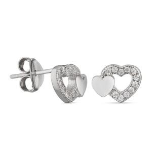 Pendientes de plata con corazón doble Oro Vivo