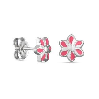 Pendientes de plata con flor rosa Oro Vivo