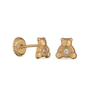 Brincos em ouro amarelo 9k com urso pequeño Oro Vivo