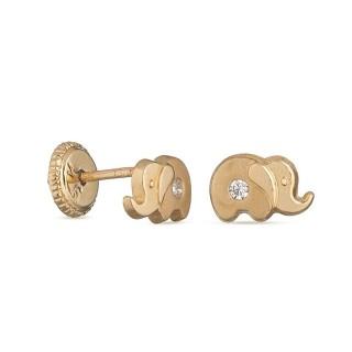 Pendientes de oro amarillo 9k elefante pequeño Oro Vivo