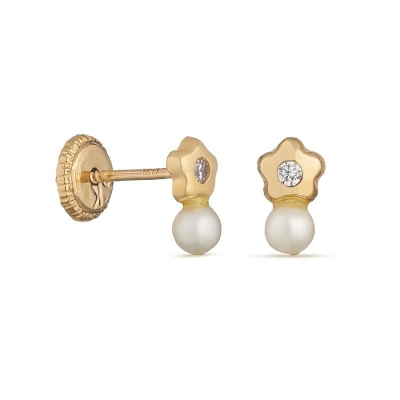 Pendientes de oro amarillo 9k flor y perla Oro Vivo