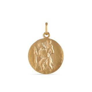 Medalla de oro amarillo con San Cristóbal Oro Vivo
