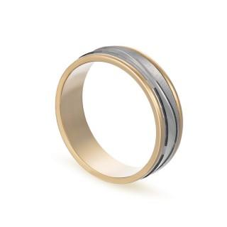 Alianza de oro bicolor 18k con líneas y 6mm Oro Vivo