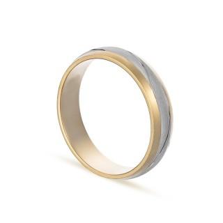 Alianza de oro bicolor 18k centro facetado 4,5mm Oro Vivo