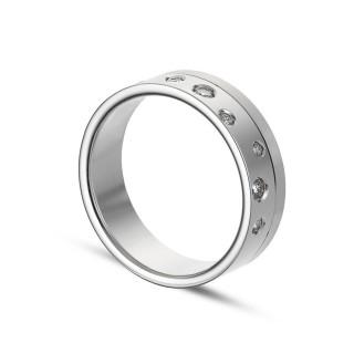 Alianza de oro blanco 18k y 8 diamantes 0.13ct 6mm Oro Vivo