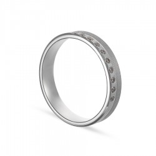Alianza de oro blanco 18k 10 diamantes 0.10ct 4mm Oro Vivo