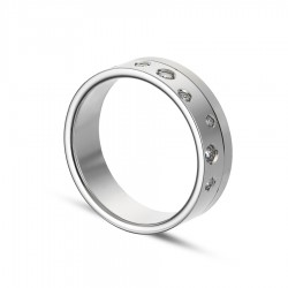 Alianza de oro blanco 9k 8 diamantes ancha 0.13ct 6mm Oro Vivo