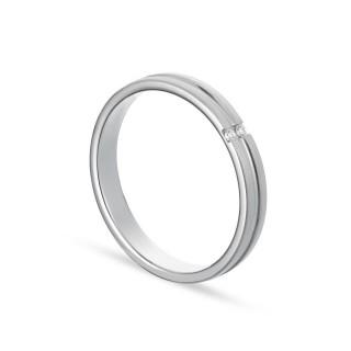 Alianza de oro blanco 9k 2 diamantes 0.02ct 3mm Oro Vivo
