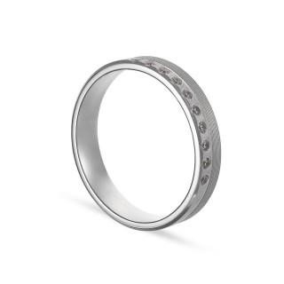 Alianza de oro blanco 9k 10 diamantes 0.10ct 4mm Oro Vivo