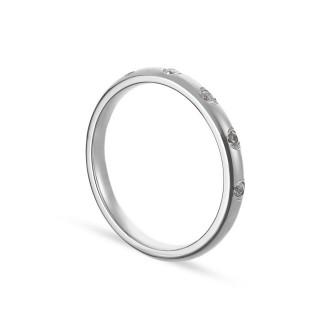 Alianza de oro blanco 9k 5 diamantes 0.10ct 2.5mm Oro Vivo