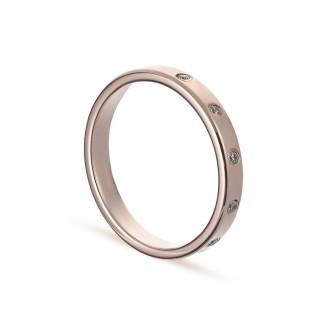 Alianza de oro rosa 9k 5 diamantes confort 3mm Oro Vivo